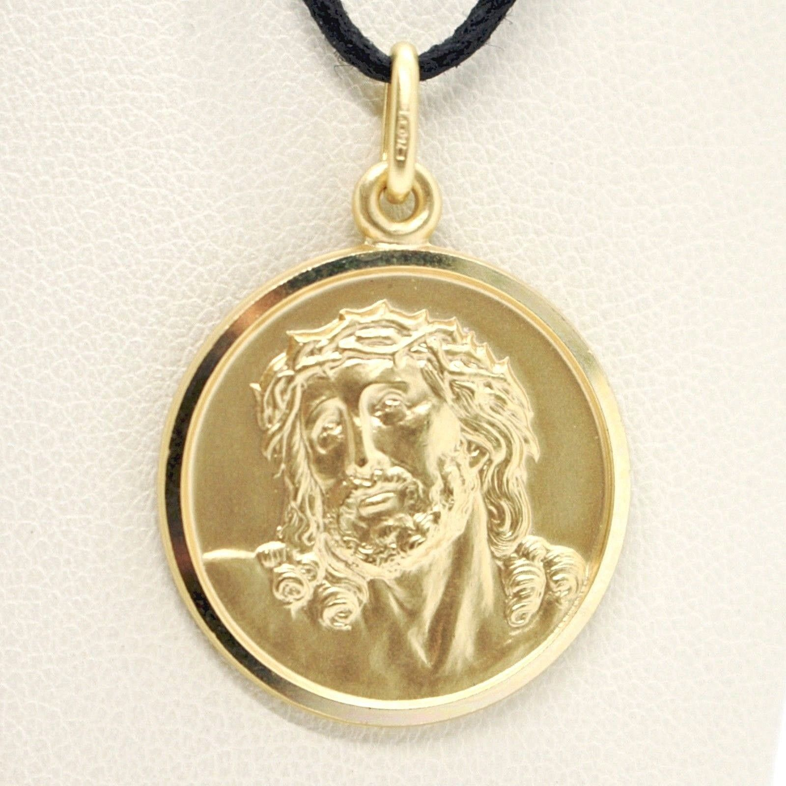 18K YELLOW GOLD ECCE HOMO, JESUS CHRIST FACE MEDAL DETAILED MADE IN ITALY, 19 MM