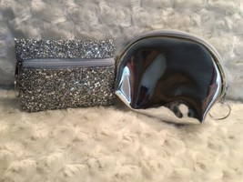 2 Silver Sequin Holiday Fashion Bag Makeup Pouch Keychain Gift Set Free ... - $8.90