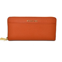 Michael Kors Pocket Zip Around Continental Wallet LOVELY Clutch ORANGE NWT - $112.70