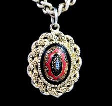 "Sarah Coventry BLACK RED GLASS CAB Pendant Vintage NECKLACE Goldtone 24""... - $16.99"