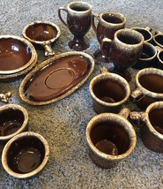 McCoy Hull Pfaltzgraff Pottery Stoneware Set Lot 32 Pieces Cups Bowls Brown - $410.85