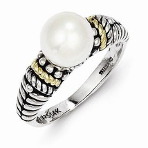 ANTIQUED STERLING SILVER & 14K GOLD 8mm FRESHWATER PEARL RING -  SIZE 8 - $89.84