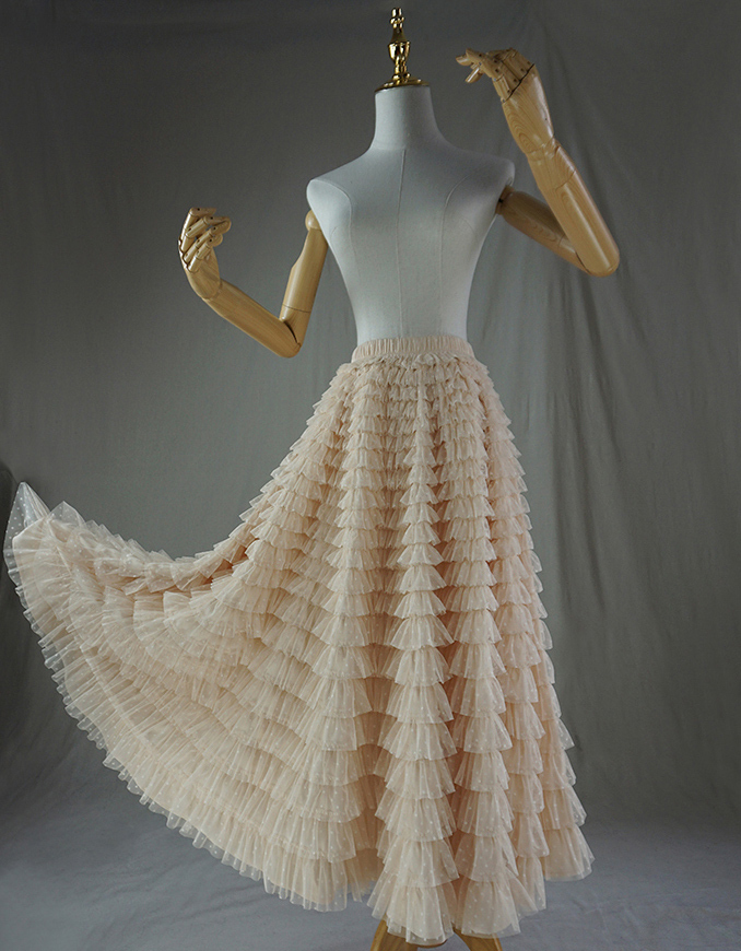 Tulle skirt champagne dot 4