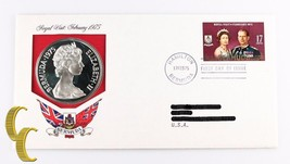 1975 Royal Visit to Bermuda w/ Silver Proof $25 Coin, 1st Day Issue Stam... - $74.25