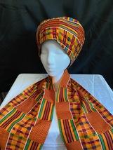 Vintage Orange African Hat and Scarf Set - $45.00