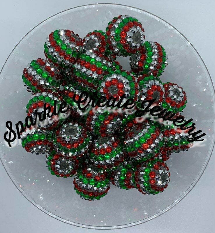 Red, Silver and Green Stripe Rhinestone Chunky Bubblegum Beads 20mm