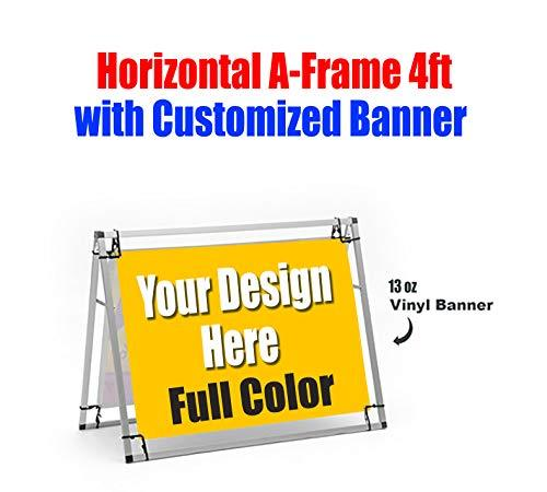 Customized Outdoor 13oz Vinyl Banner, Horizontal A-Frame 4ft Included, 2 Banners