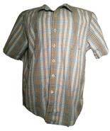 Tommy Bahama Mens Large Tan/Blue Block Plaid Button Up  Cotton Shirt L - $10.32