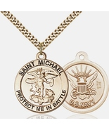 """Handcrafted Gold Filled St. Michael The Archangel Navy Medal  - 24"""" Curb... - $219.99"""