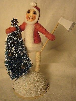 Vintage Inspired Spun Cotton Tree Chopper Girl # 79 Christmas