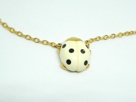 Crown Trifari Gold Tone Cream Black Dot Lucite Ladybug Pendant Necklace ... - $49.49