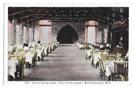 West Yellowstone MT Union Pacific Dining Lodge Interior Vintage Tammen Postcard - $6.69