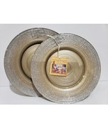 TURKISH DELIGHTS HOLIDAY GOLD SILVER SPARKLE GLASS SALAD PLATES SET OF 2... - $28.99