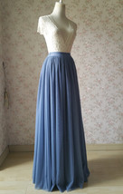 NAVY BLUE Elastic Waist Tulle Maxi Skirt Navy Wedding Bridesmaid Skirts Floor image 11