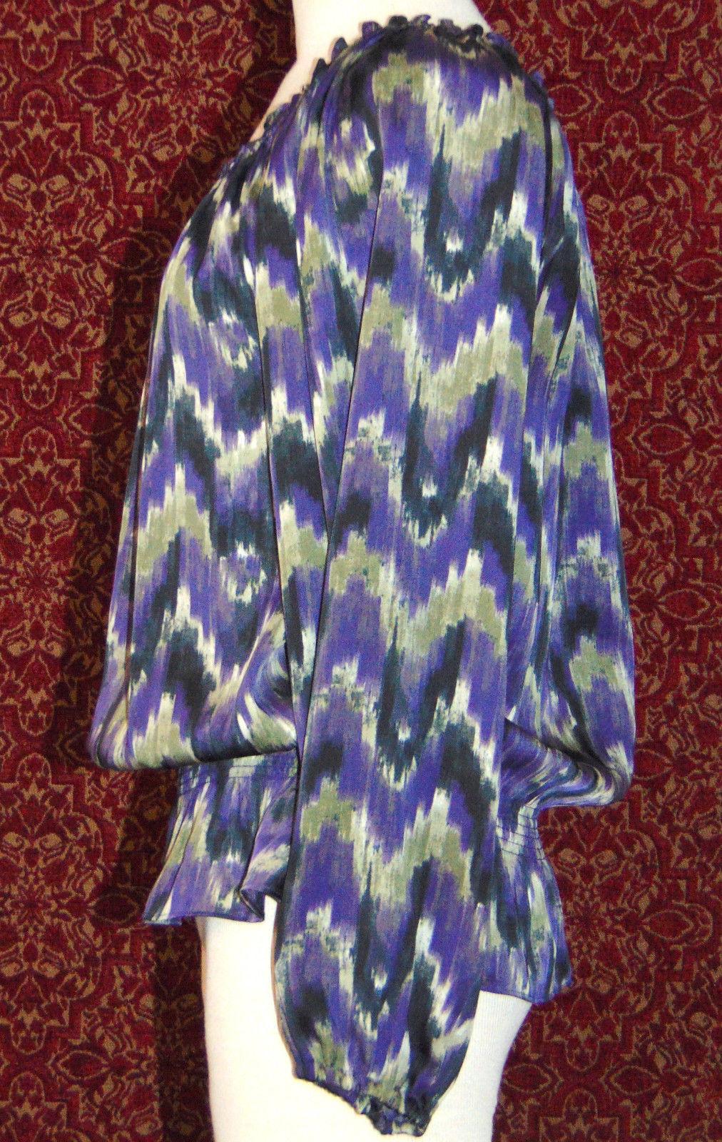 MICHAEL KORS purple polyester long sleeve blouse M (T47-01C8G) image 7