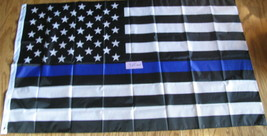 "Flag 3X5 3'X5"" 90X150 cm USA Support your Police Blue Line Law Enforcement - $9.90"