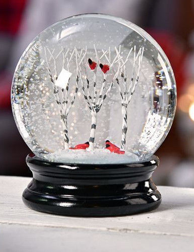 Snowy Tree Design Water Globe w  Red Cardinal on Branches with Snow Effect