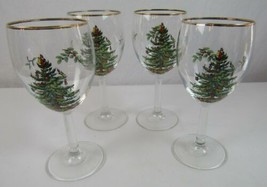 Spode Christmas Tree All Purpose Wine Glasses Gold Rim 3 Boxes of 4 + 2 ... - $55.00