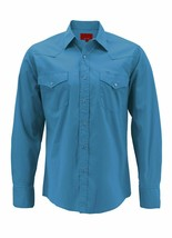 Men's Pearl Snap Button Long Sleeve Western Slim Fit Turquoise Dress Shirt -  XL