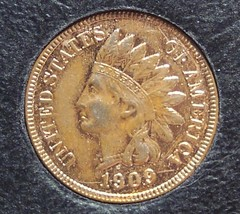 1909 Indian Head Cent AU 3.75 diamonds Gold Plated #0126 - $25.99