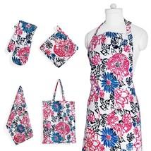 Apron Flower Print Set w Pockets Kitchen Towel Pot Holder and Oven Mit G... - $29.65