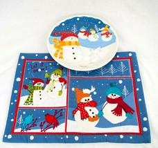 St Nicholas Square Snowmen Snow Days Cookie Plate n Place Mat for Santas... - $22.24
