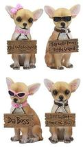 Ebros Set of 4 Adorable Fashion Tea Cup Chihuahua Dogs Statues Each Wearing Humo - $47.49