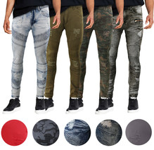 Men's Muscle Fit Distressed Moto Quilt Zipper Super Skinny Stretch Denim Jeans