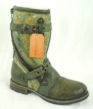 New Ugg Collection Adela Boots Buckled Moto Style Oil Green Sample 7B - $232.48