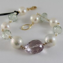 18K YELLOW GOLD BRACELET WITH BIG WHITE PEARLS AMETHYST PRASIOLITE MADE IN ITALY image 1