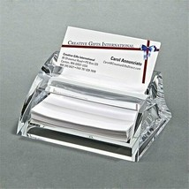 BEAUTIFUL CLEARYLIC ENGRAVEABLE ACRYLIC DELUXE BUSINESS CARD HOLDER OFFI... - $12.86