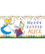 Alice in Wonderland Easter Basket Sticker, Waterproof and Personalized - $3.50+