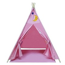 YiFi-Tek Canvas Teepee Tent for Kids with Floor Mat and Carrying Bag Pink - $67.66