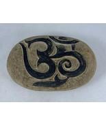 "Ohm Aum Carved Decorative Buddhist Hindu Symbol Garden Stone Rock 4.5"" Wide - £10.25 GBP"