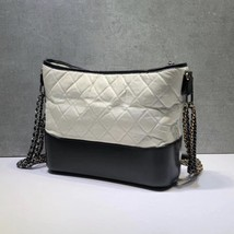 NEW AUTHENTIC CHANEL White Black Quilted Calfskin Medium Gabrielle Hobo Bag  image 4