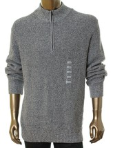 Men's Calvin Klein Cotton 1/4 Zip Mock Neck Sweater,  Light Grey Heathe, Size L. - $24.74