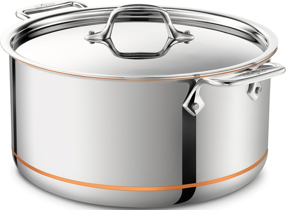 ALL-CLAD COPPER CORE 5-PLY STAINLESS STEEL STOCK POT 8 QT W/LID MADE IN USA NEW. - $544.75