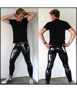 "Men's BLACK Skin Tight ""Wet Look"" Stretch Faux Latex Leather Pants Leggings - $93.95"