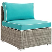 Repose Outdoor Patio Armless Chair Light Gray Turquoise EEI-2958-LGR-TRQ - $235.25