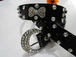 Femme Faux Cuir Noir Western Ceinture Grand Noeud Argent Perles Boucle Fantaisie image 3