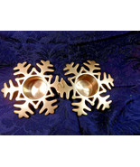2 Crate & Barrel Shiny Brass Candle Votive Holders Snowflakes - $28.50