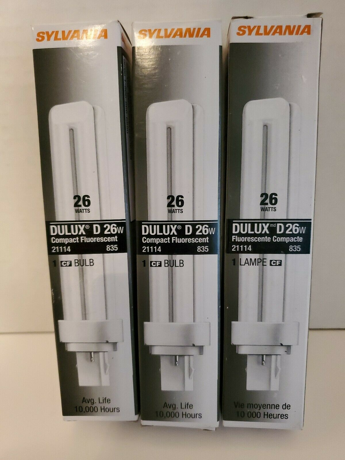 Primary image for Lot of 3 SYLVANIA DULUX D COMPACT FLUORESCENT BULBS 26W CF26DD/835/ECO