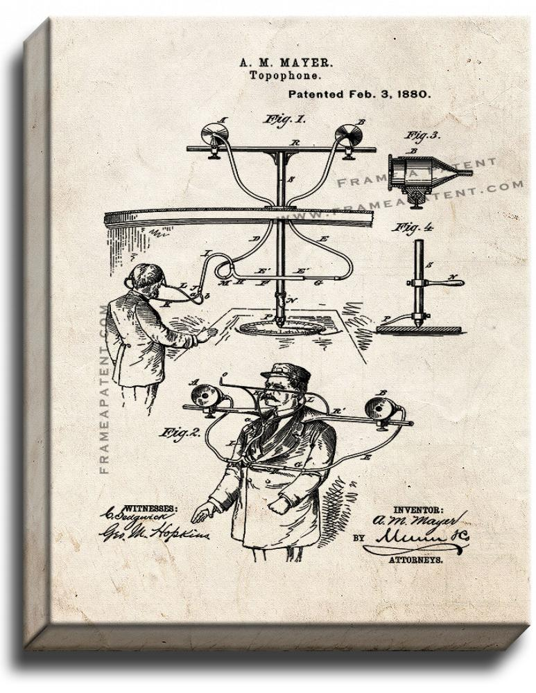 Primary image for Topophone Patent Print Old Look on Canvas