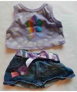 Build A Bear Clothes Blue Jean Denim Skirt Purple Aloha Top EUC - $10.99