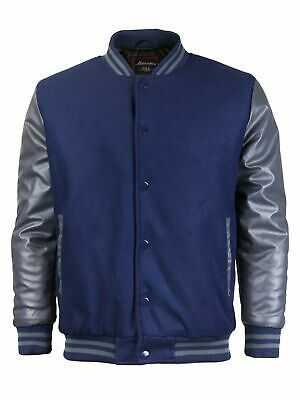 Men's New W/Defect Vintage Baseball Letterman Snap Button Varsity Jacket
