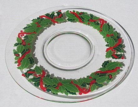 New ARCOROC Hand-Pressed Holly and Ivy Christmas Serving Display Glass Platter