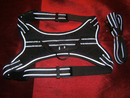 Pet Family Best Reflective Nylon Dog Vest/Harness & Leash Black - Medium - $15.39