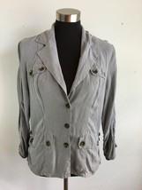 XCVI Womens Jacket M Medium Gray Tencel Rushed 3/4 Sleeve Button Front P... - $39.59