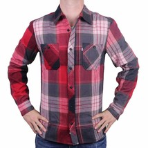 NEW LEVI'S MEN'S CLASSIC CASUAL MACHADO FLANNEL TWILL WOVEN SHIRT RED 3LDLW1771