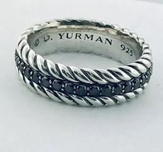 David Yurman Sterling Silver Streamline Black Diamond Cable Ring Band For Men's  - $539.00